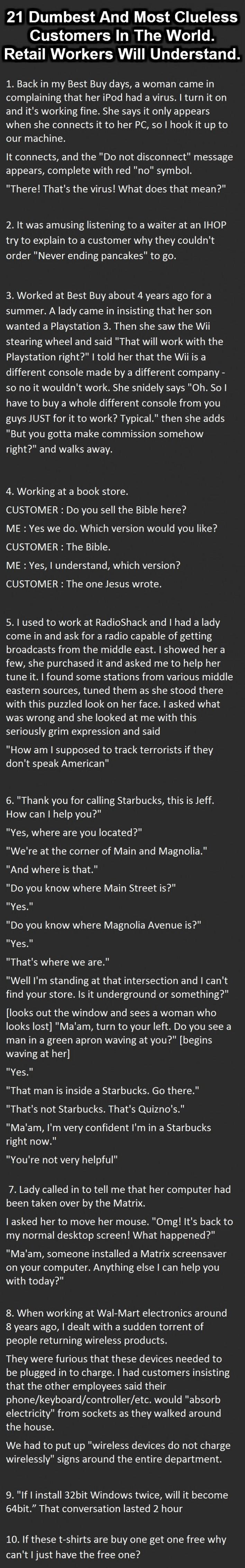 dumb customer